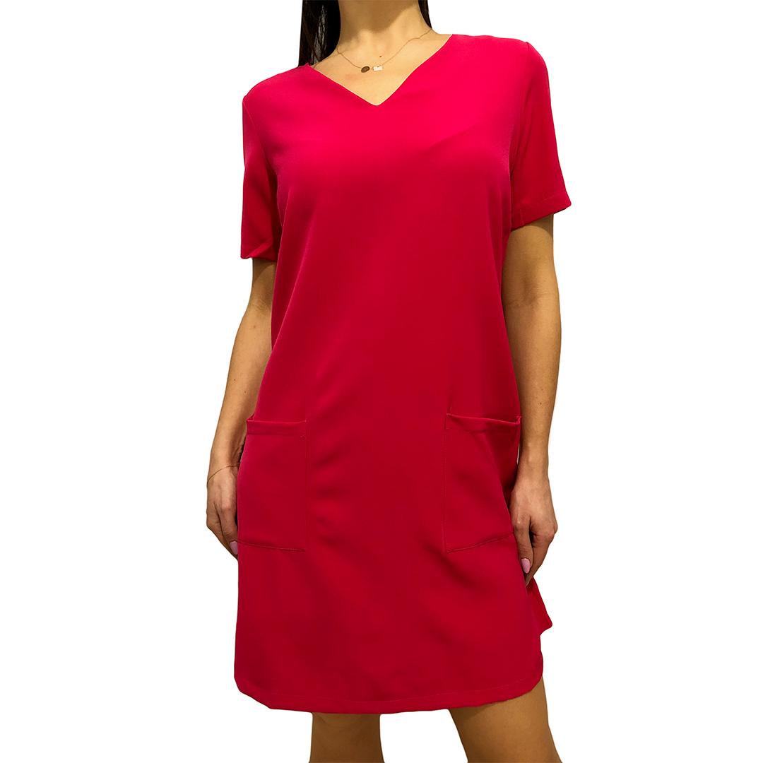 356e65de Różowa Sukienka z Kieszeniami 2493-08-B