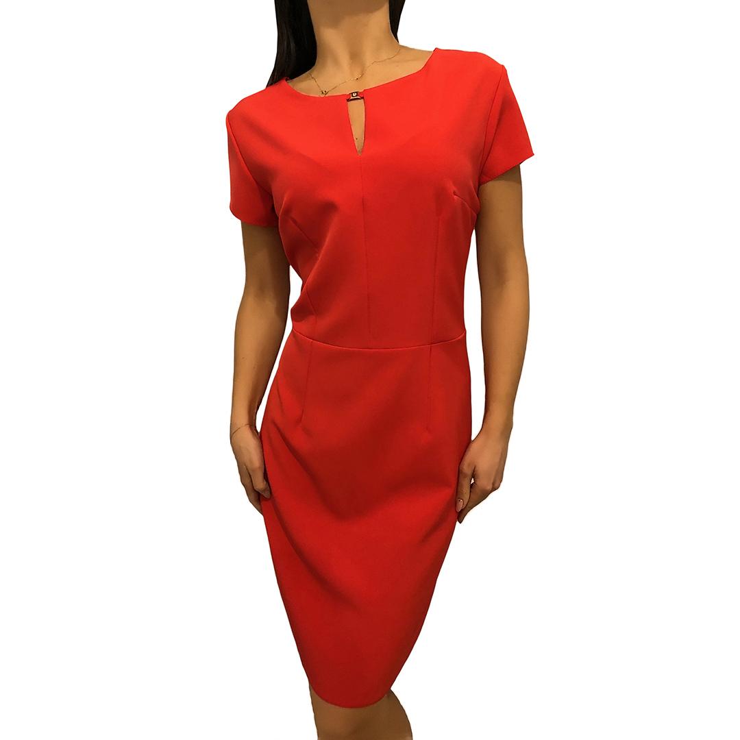 039eeafe08 Czerwona Sukienka z Krótkim Rękawem 2546-101-A ModnaKiecka.pl